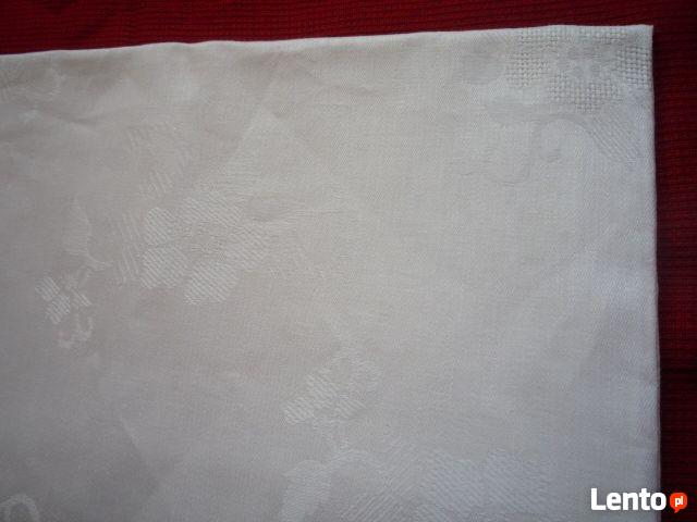 NOWY Obrus 160x140cm Biały Adamaszek Tłoczone kwiaty Bawełna