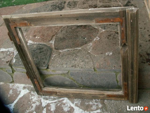 Stare okno rama lustro loft retro obraz witraż 52x46
