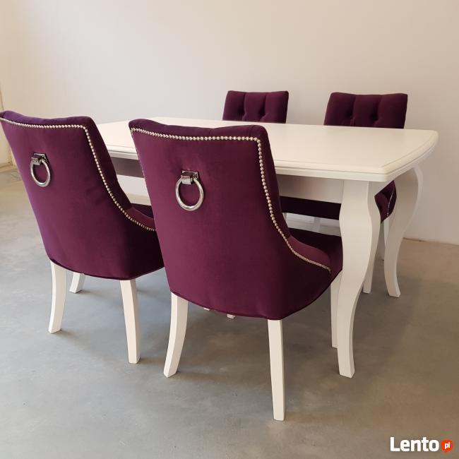 Krzesło glamour białe pikowane z kołatką i pinezkami Nowe