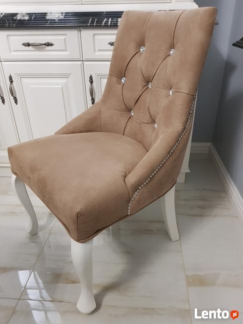 Krzesło tapicerowane pikowane kołatka pinezki KRYSZTAŁKI