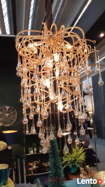 Luksusowy Żyrandol szkło z metaloplastyką Lodowe Krople z k