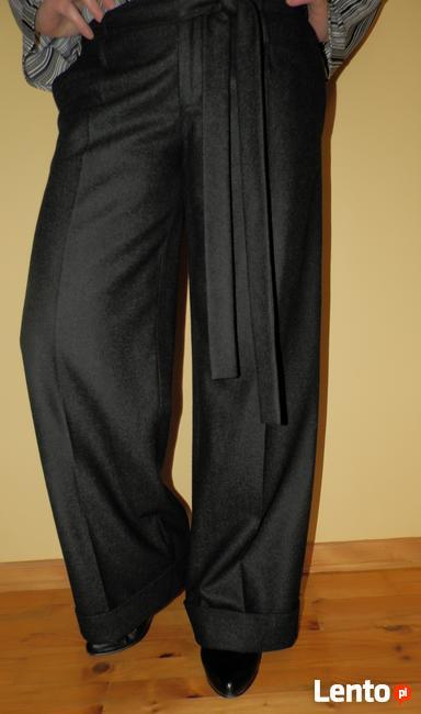 Szerokie spodnie z wełną czarne M/L wide szwedy