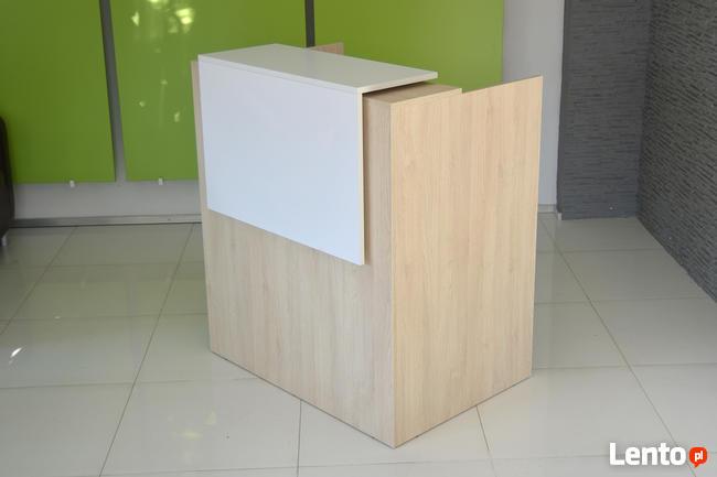 Lada recepcyjna OD RĘKI 100cm Biały połysk i dąb sonoma