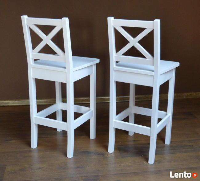 Biały Hoker Kuchenny Krzesła Barowe Białe Hokery Drewniane X