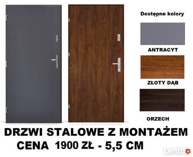 Drzwi zewnętrzne-wejściowe- metalowe POLSKIE z montażem.