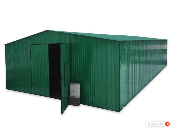 Hala garażowo-magazynowa 7x16 m dwuspadowy dach + brama