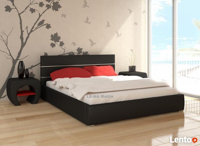 Łóżko czarne chromy 140x200 producent