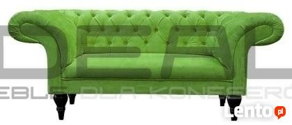 Pikowana Sofa Chesterfield Diva skóra/tkanina styl angielski