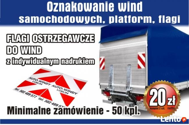 Flagi ostrzegawcze do wind samochodowych, platform