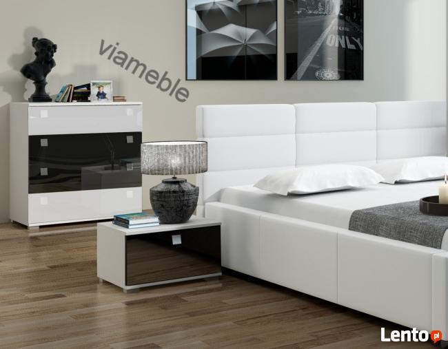 łóżko Do Sypialni Białe Z Eco Skóry 140x200 Pojemnik Stelaż