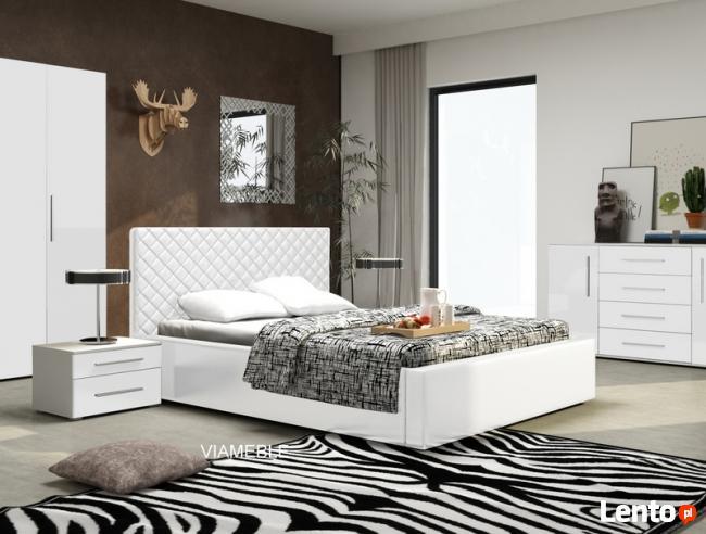 Piękne łoże tapicerowane 140 z eco skóry pojemnik i stelaż