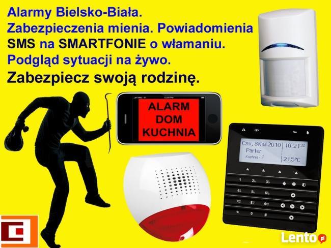 Alarmy sterowane telefonem. Dom lub firma. Bielsko-Biała.