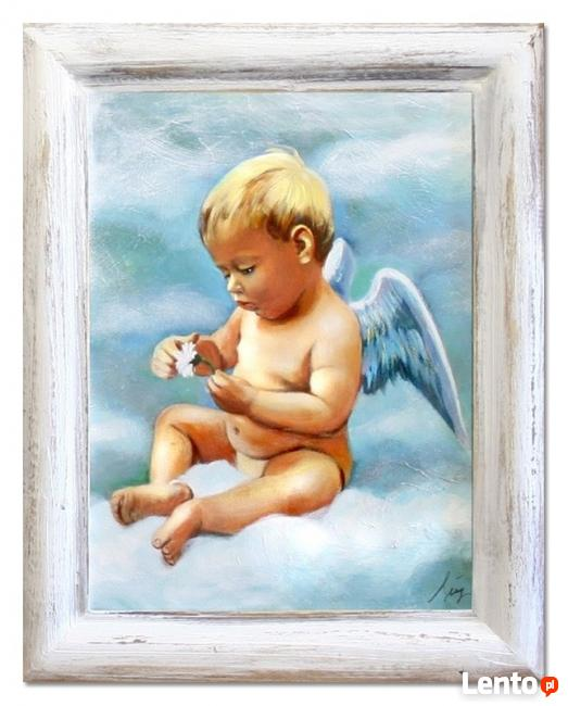 obraz olejny 37 x 47 cm prezent komunia chrzciny