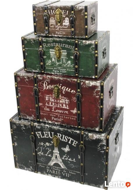 kufer skrzynia komplet 4 sztuki retro vintage