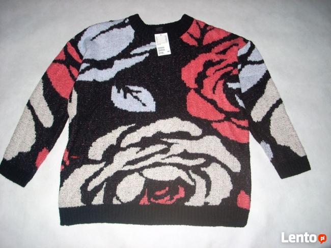 H&M sweter ŻAKARD Gruby Róże NOWY M L XL