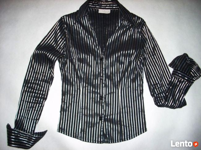 La&B&La elegancka Koszula Błyszczące Paski 34 36 Xs S