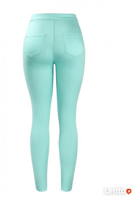 Spodnie miętowe wysoki stan high waist M