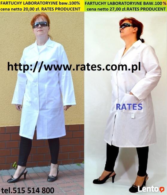 Fartuchy laboratoryjne cena 20 zł. Netto RATES