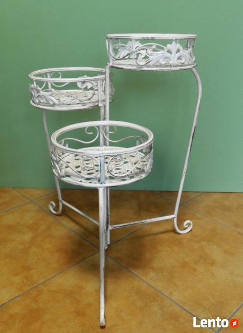kwietnik metalowy stojak na 3 kwiaty stylizowany