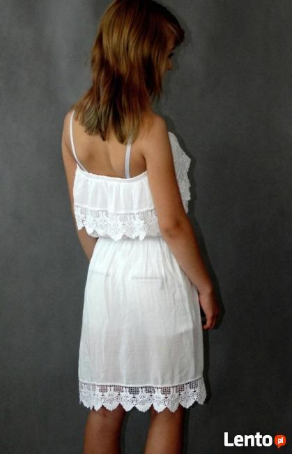 Biała Letnia Sukienka Hiszpanka NA PLAŻĘ