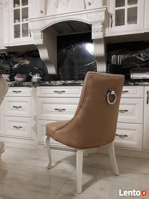 Krzesło z KRYSZTAŁKAMI pikowane kołatka pinezki GLAMOUR