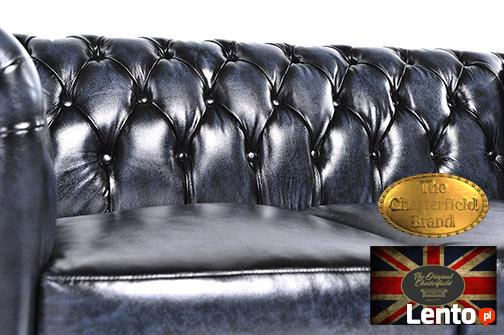 Chesterfielrd sofa 2 os antyczny niebieski