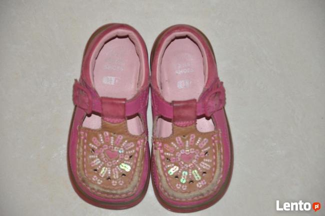 Różowe buciki, trzewiki marki CLARKS rozm. 22 - skóra natura
