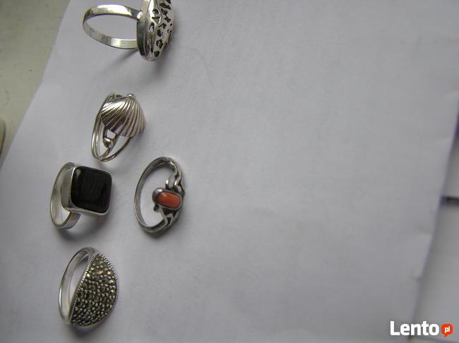 Warmet Srebrne pierścionki KORAL MARKEZYTY kolczyki koła 925
