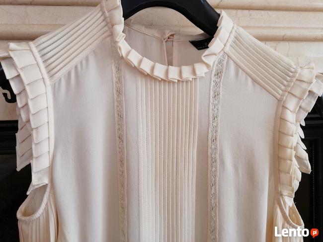 ZARA bluzka z jedwabiu kolor ecri rozmiar M