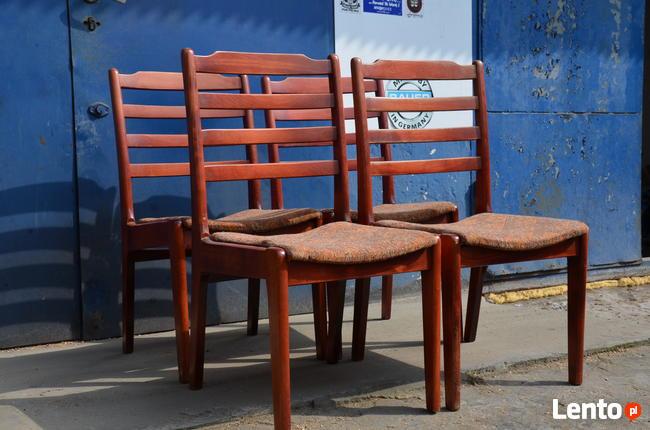 Krzesła drewniane tapicerowane 4 szt, Krzesło PRL, Meble PRL