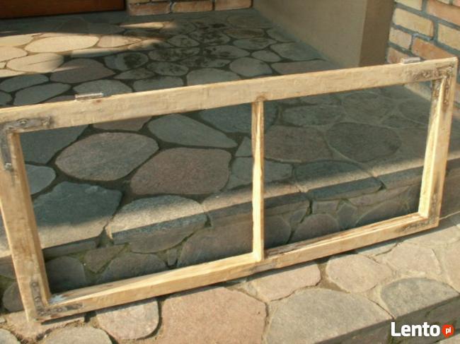 Stare okna drewniane rama retro loft lustro zdjęcie 114x52