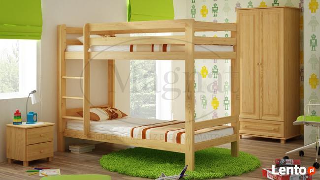 Piętrowe sosnowe łóżko drewniane 90x200cm z materacami