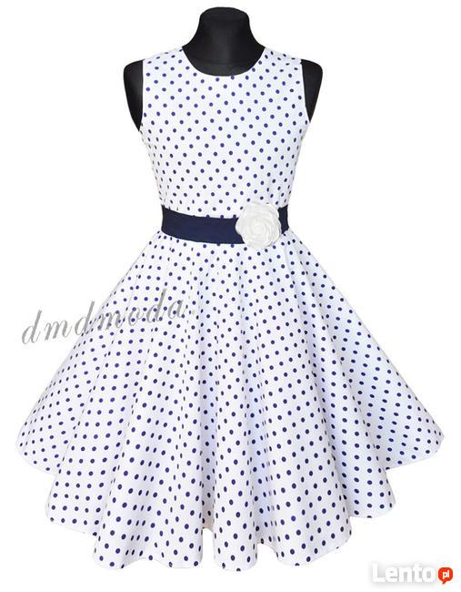 27bf14f7 Wizytowa sukienka dla dziewczynki w małe groszki w r.146 Kielce