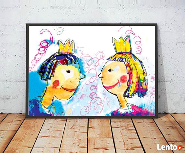królewna plakat, królewicz plakat, obrazek do pokoiku dzieci
