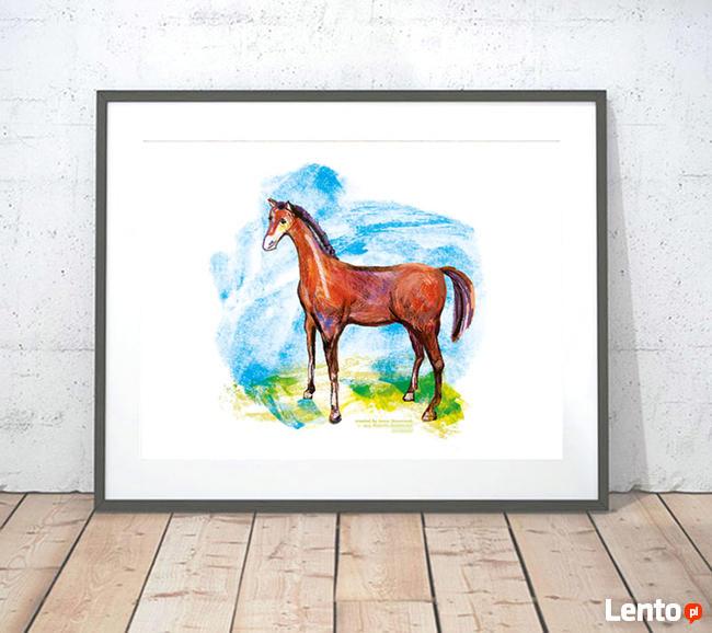 A4 obraz z koniem, obrazek do pokoju chłopca, plakat koń