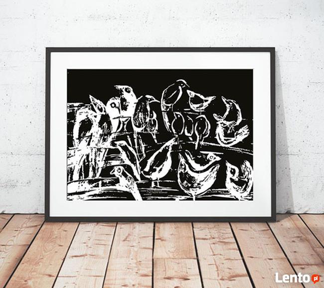 skandynawska grafika z ptakami, czarno biały plakat do sypia