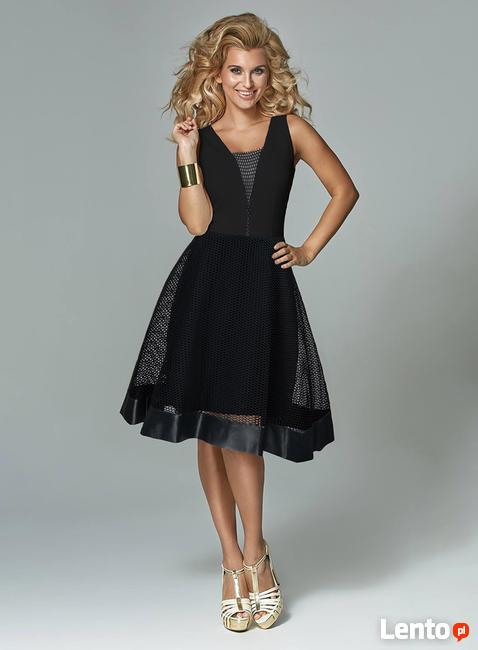 Zjawiskowa czarna sukienka z siatką VESTIMI