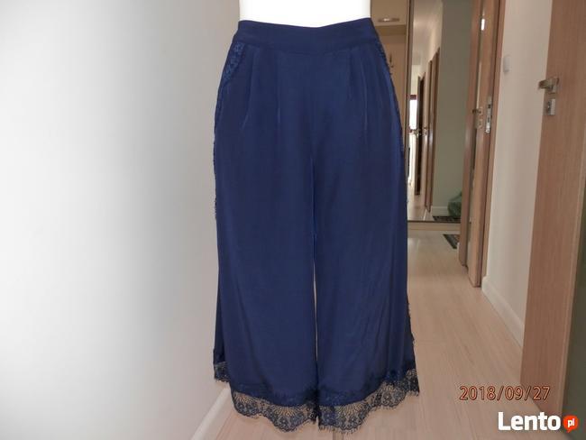 Spodnie Szerokie Nogawki Kuloty Culotte Granatowe Nowe M Łomża