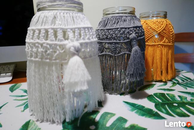 Makrama, lampion, ręcznie robiona, boho styl