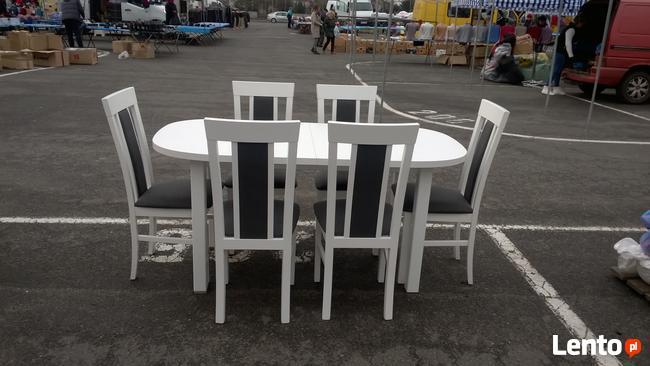 Biały Zestaw, Stół + 6 krzeseł-Promocja