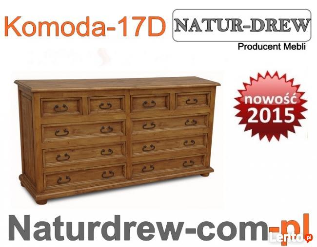 Komoda 17 D z drewna Duża, meble z drewna Producent -- Hit