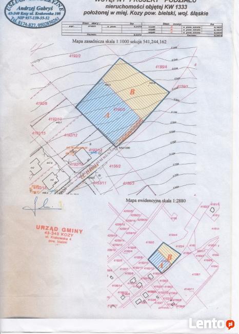 sprzedam działkę budowlaną w Kozach