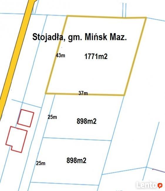 Działki budowlane, Stojadła 898m2, 1771m2, media!