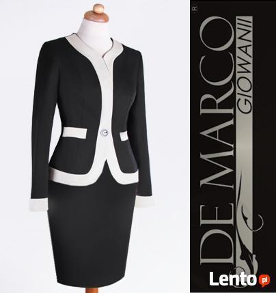Modna, biznesowa garsonka, żakiet spódnica, De Marco