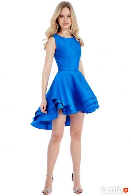 dd2bd10865 Asymetryczna kobaltowa sukienka rozkloszowana mini Czeladź