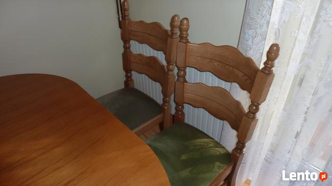 Stół rozkładany 100x160x200 + 4 krzesła z litego dębu stan b