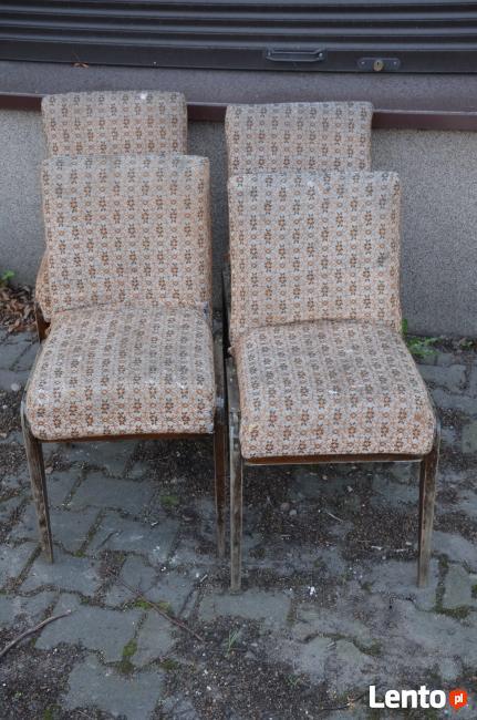 4 Krzesła AGA, Fotel AGA , Krzesło PRL, Meble PRL, Art deco