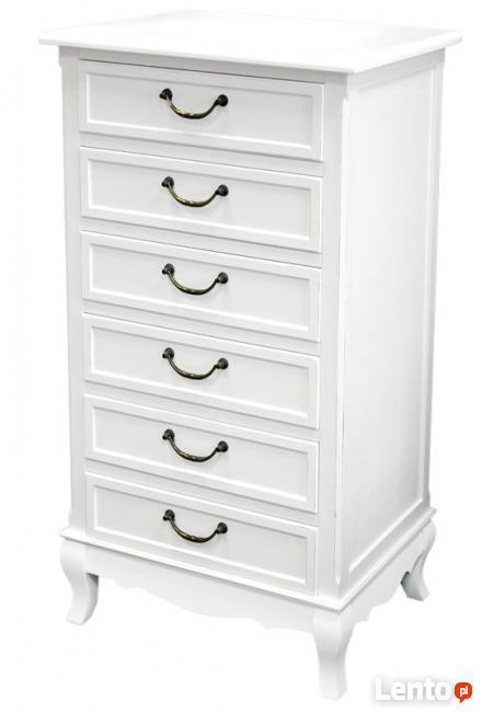 biała stylizowana komoda vintage 6 szuflad