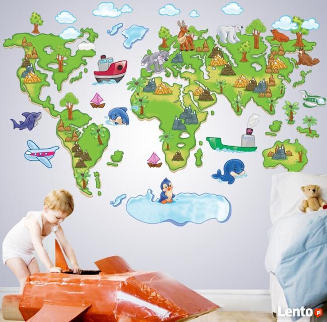 Naklejki cienne na cian mapa wiata dla dzieci ws 0020 for Wall map for kids room