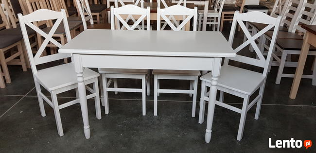 Komplet prowansalski-stół biały + 4 krzesła Krzyż nowy